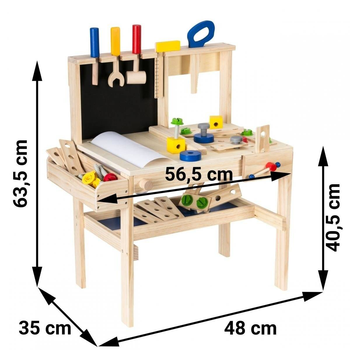 Drewniany zestaw majsterkowicza XXL - 75 elementów + pas narzędziowy