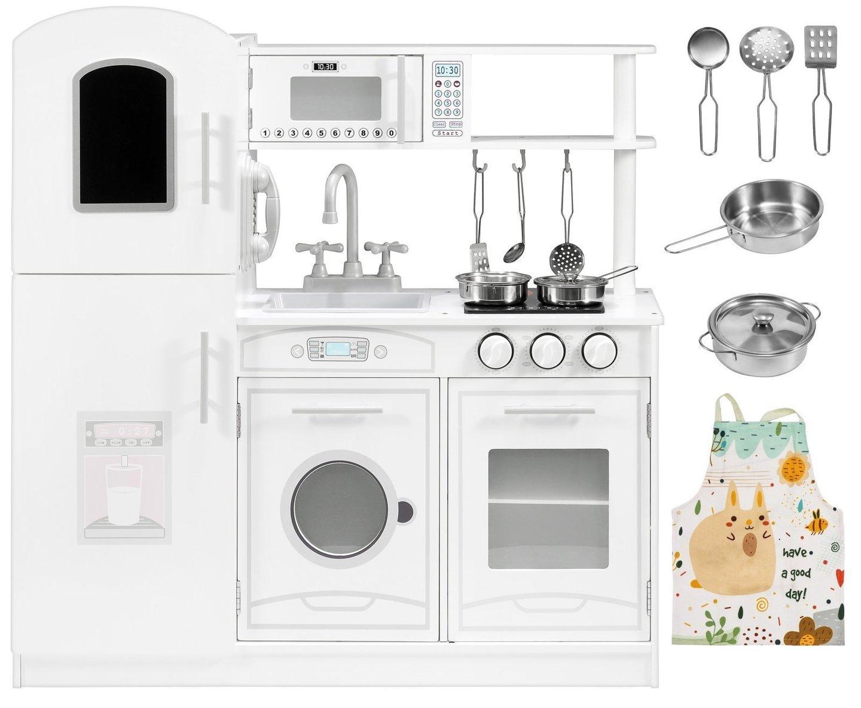 Duża drewniana biała kuchnia akcesoria i fartuszek
