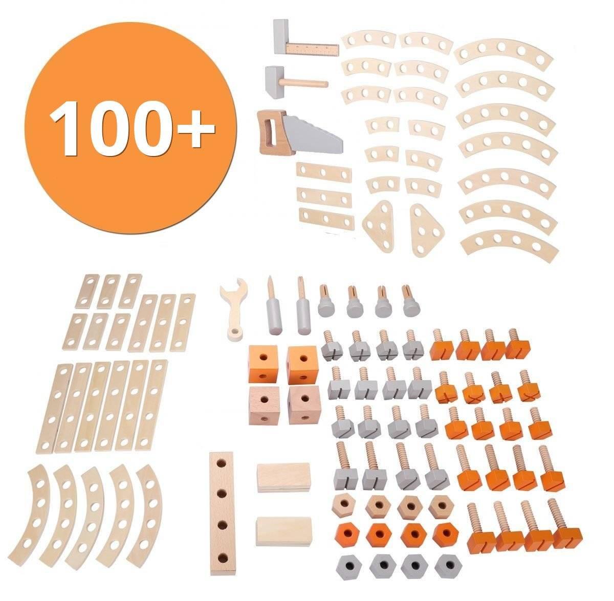 Duży drewniany warsztat - ponad 100 elementów! Ruchoma piła!