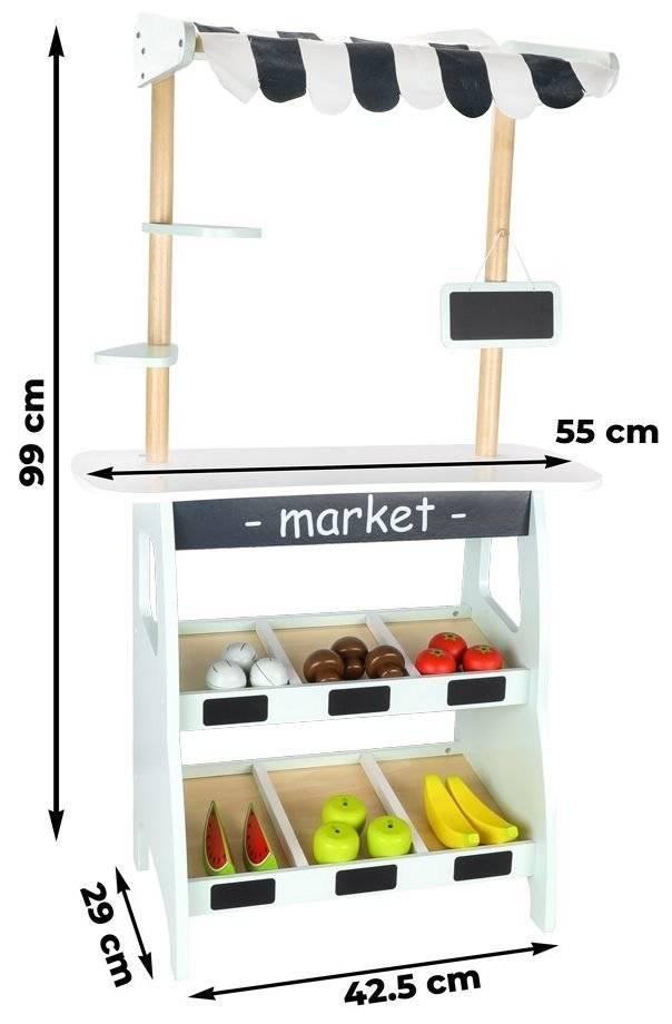 Duży stragan z warzywami i owocami - akcesoria w zestawie