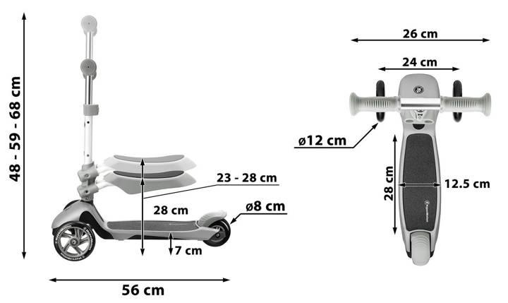 Hulajnoga 3in1 trójkołowa balansowa HyperMotion - błękitna