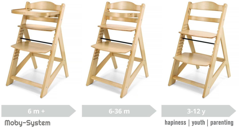 Krzesło do karmienia drewniane Moby-System WOODY - kolor naturalne drewno