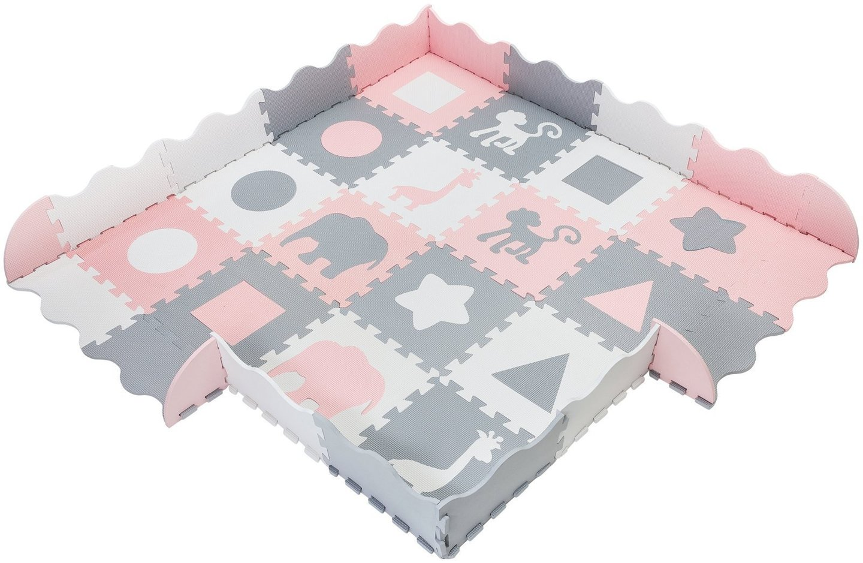 Mata piankowe puzzle XL 150 x 150 x 1cm z obrzeżem - pianka EVA - różowa
