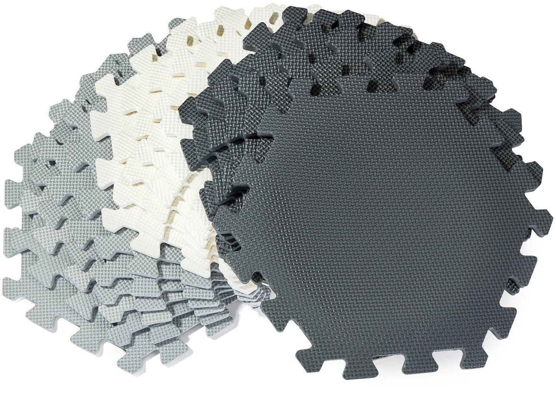 Mata piankowe puzzle XXL 260 x 135 x 1cm z obrzeżem - pianka EVA + torba - szara