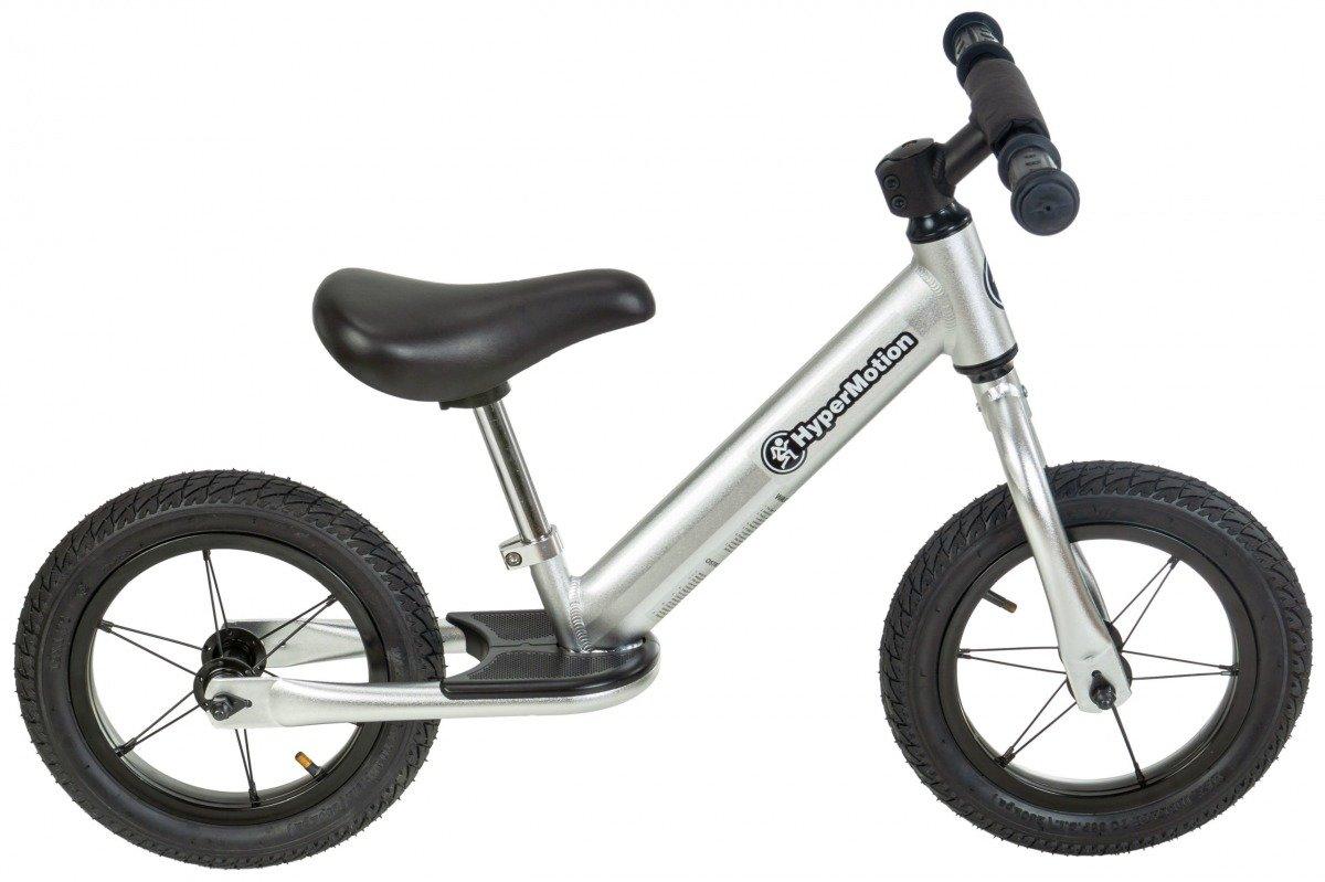 Rowerek biegowy ALU HyperMotion COVAGGIO - pompowane koła, aluminiowa rama - srebrny
