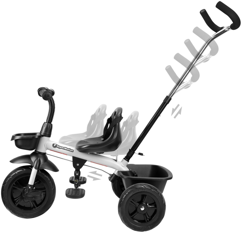Rowerek trójkołowy HyperMotion TOBI VECTOR - wiecznie pompowane koła + pchacz. Kolor: jasnoszary.