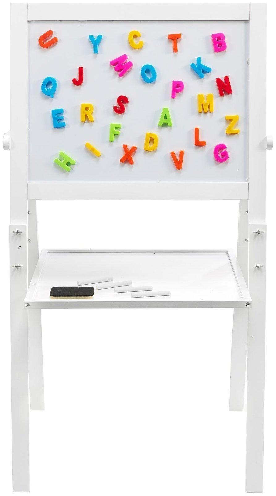 Tablica edukacyjna dwustronna: magnetyczna i kredowa - suchościeralna, drewniana, dla dzieci, składana