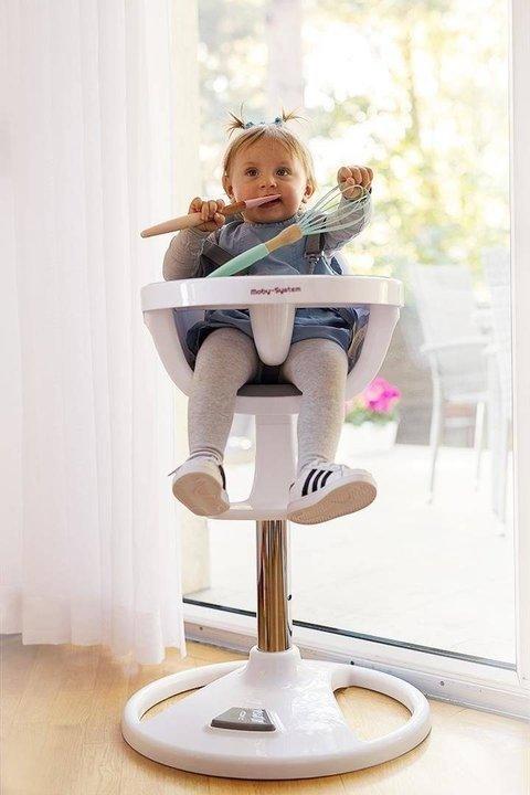 Wysokie obrotowe krzesełko do karmienia FLORA - beżowe