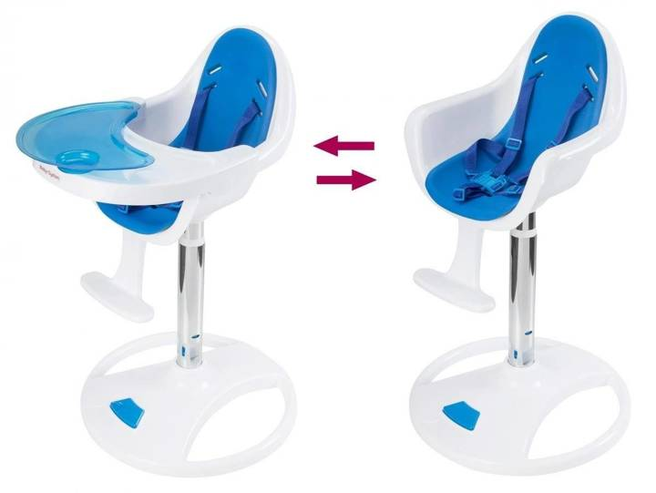 Wysokie obrotowe krzesełko do karmienia FLORA - różowe